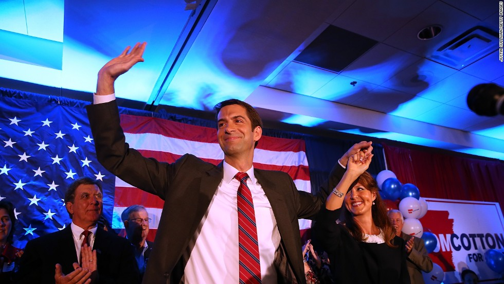 U.S. Rep. Tom Cotton and his wife, Anna, greet supporters during an election night gathering in Little Rock, Arkansas, on Tuesday, November 4. Cotton, a Republican, has been projected to unseat Mark Pryor in the U.S. Senate.