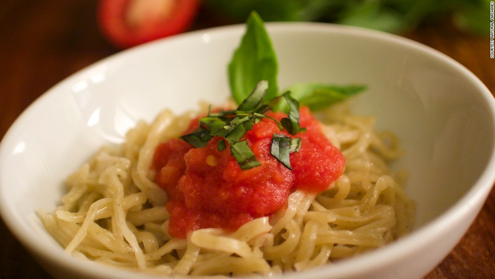"""This spaghetti dish was created using the """"Foodini"""" -- a 3D printer for food."""