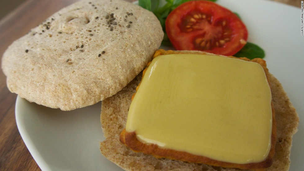 ... and the finished product, a veggie burger sandwich, complete with printed cheese.