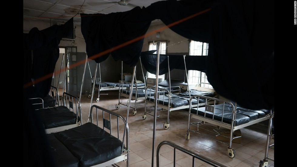 Empty beds are seen in a hospital. Many people do not want to be hospitalized because they are afraid of contracting the Ebola virus. (Luigi Baldelli/ECHO)