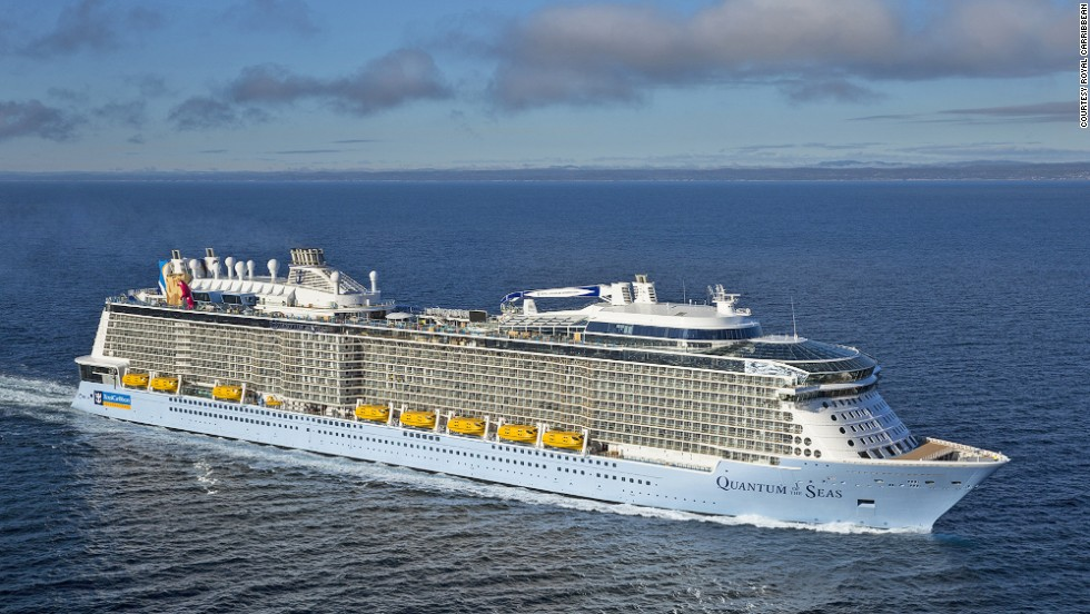 Quantum of the Sea is smaller than Royal Caribbean's Oasis Class ships, which measure 225,282 tons and carry 5,400 passengers at double occupancy.