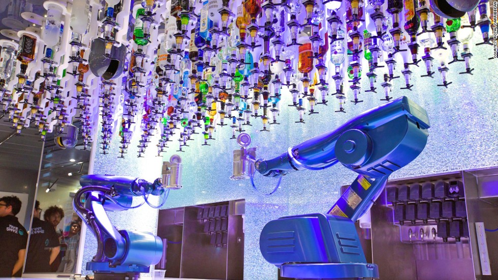 """Make mine a double."" In the Quantum of the Seas Bionic Bar, robotic arms are in charge of mixing the drinks."