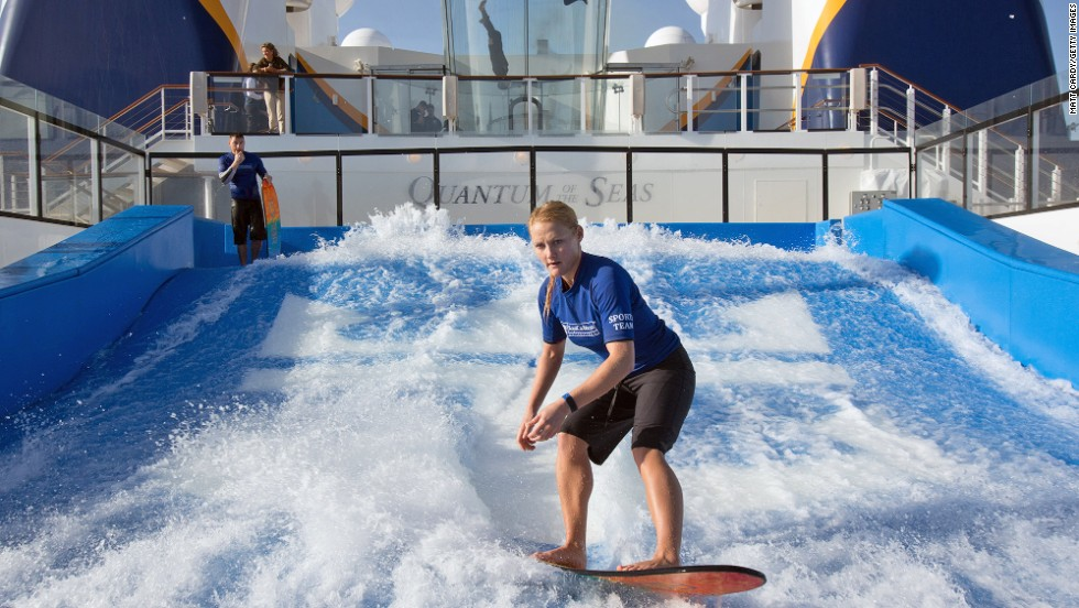 Like several other Royal Caribbean ships, Quantum of the Seas is equipped with a FlowRider -- a 40-foot long surf simulator.