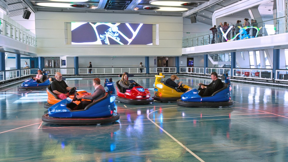 The ship's SeaPlex facility offers a circus school, basketball court, rollerskating rink and bumper cars.
