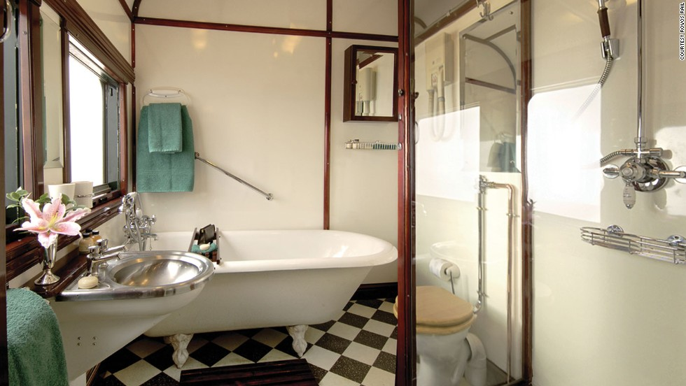 The Royal Suite on board the Rovos Rail train in South Africa features a bathtub.