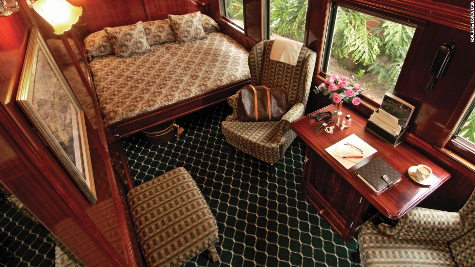 Each of Rovos Rail's 16 square meter Royal Suites take up half a carriage. Not surprising given they all come with a private lounge area and full bathroom with Victorian bath and separate shower.