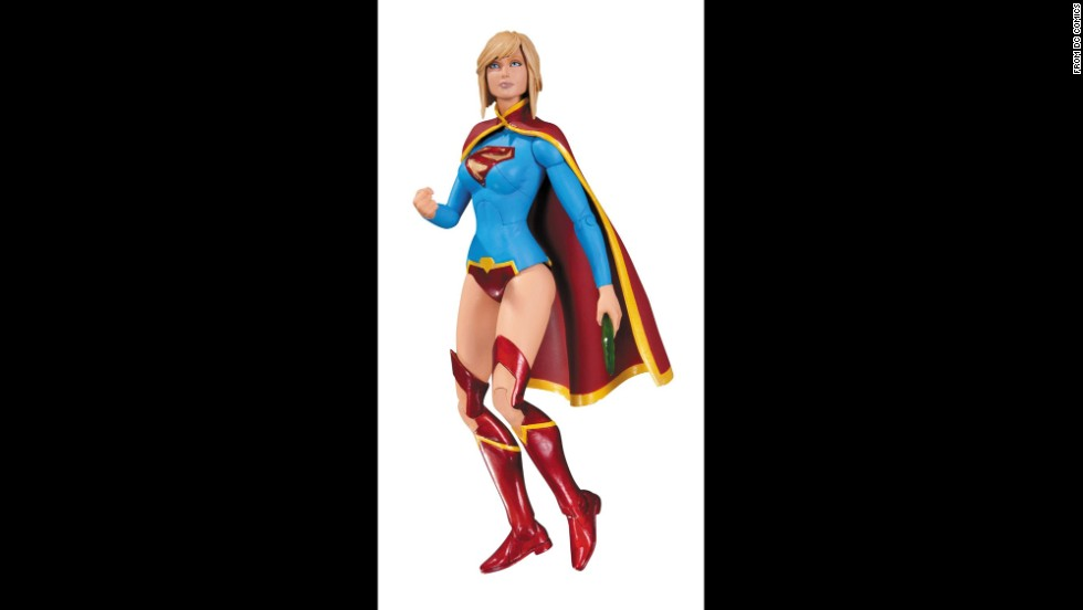DC Comic's Super Girl is a woman of action in her colorful getup. She may have forgotten her pants after changing in the phone booth, though.