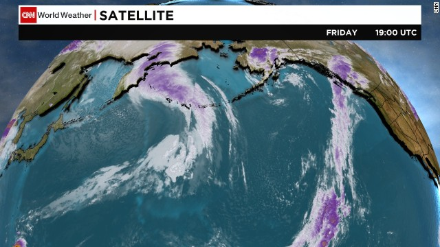 This satellite image shows the remnants of Super Typhoon Nuri as it approaches the Pacific North on Friday.