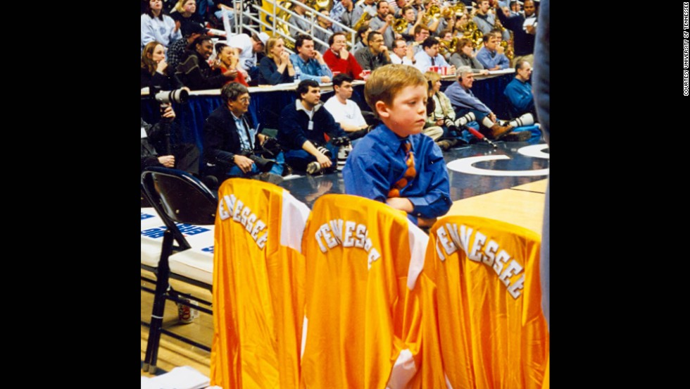 Tyler Summitt crosses his arms and scowls while he observes a game against Connecticut in 1999.