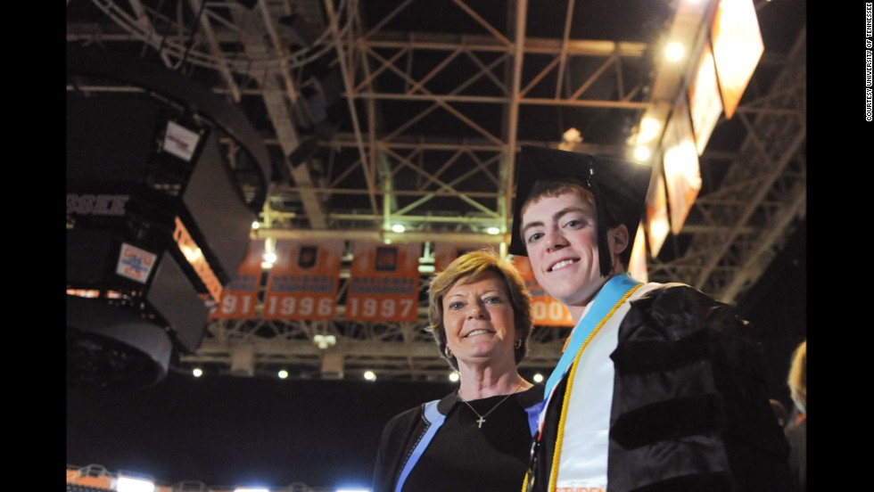 Pat Summitt always emphasized academics with her son. The day he graduated from college was one of her proudest. He says he always loved looking at the banners in the arena signifying the hard work of his mom's teams.