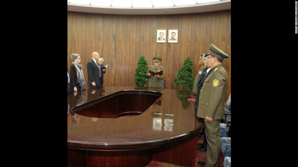 James Clapper meets with North Korean officials on November 8, prior to the release of two Americans. Clapper delivered a letter from President Barack Obama, addressed to North Korean leader Kim Jong Un.