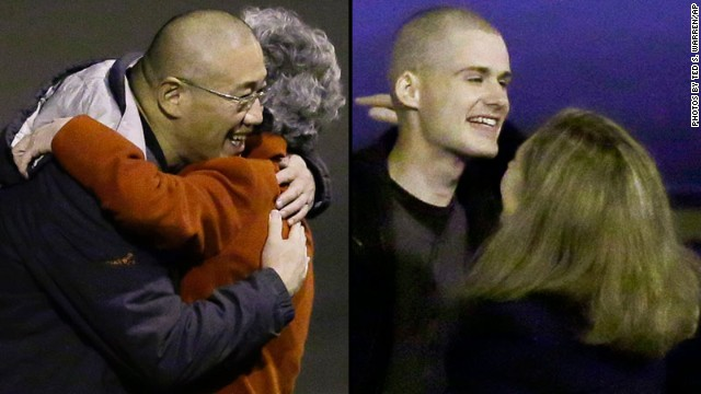 Kenneth Bae, left, and Matthew Todd Miller arrive at Joint Base Lewis-McChord in Washington state after being freed by North Korea.