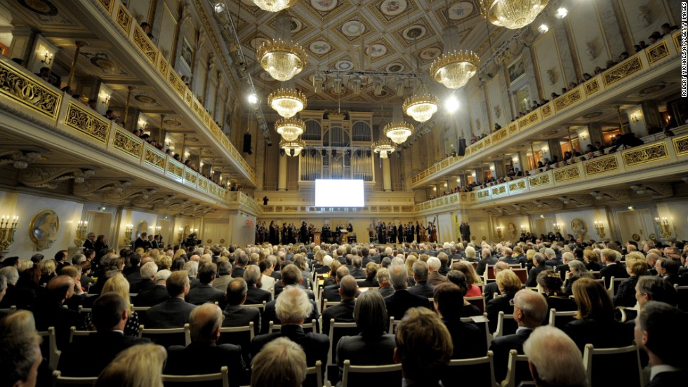 Guests attend a ceremony organized by the Berlin Senate to mark the anniversary at the Gendarmenmarkt Konzerthaus in Berlin.