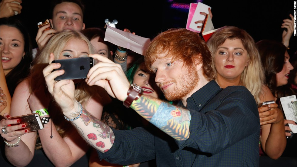 Ed Sheeran arrives for the 2014 MTV Europe Music Awards on Sunday, November 9, 2014 in Glasgow, Scotland.