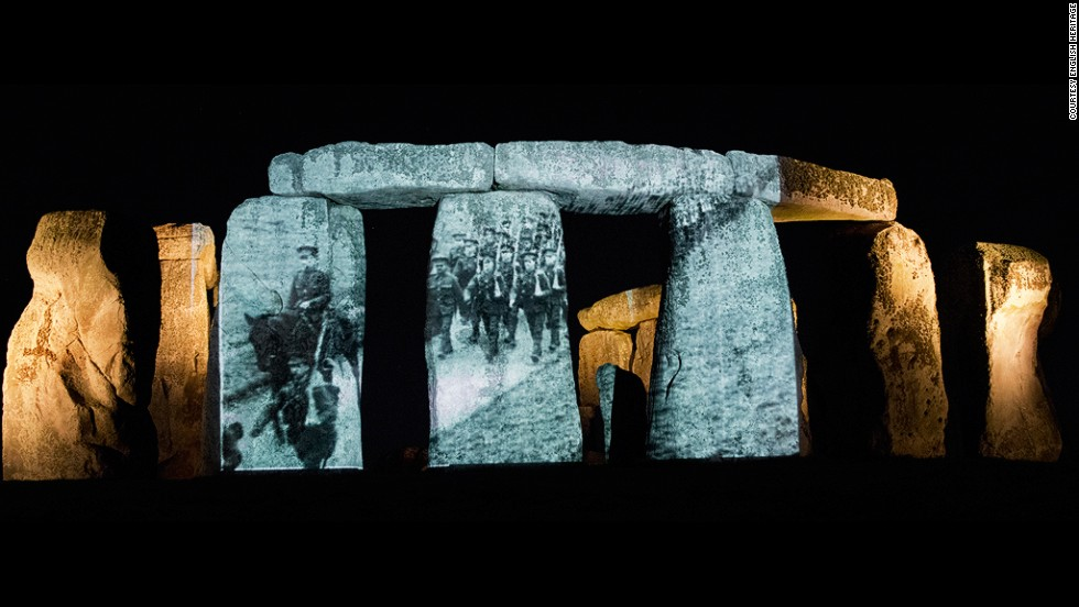 """<strong><em>Stonehenge Projection by English Heritage, 2014 </strong></em><br /><br />Earlier this month, organizers from <a href=""""http://www.english-heritage.org.uk/"""" target=""""_blank"""">English Heritage</a> also tried to engage the public in a novel way by projecting archival footage of Commonwealth soldiers training onto Stonehenge, which was at the center of one of the country's largest military training grounds, during a ceremony."""