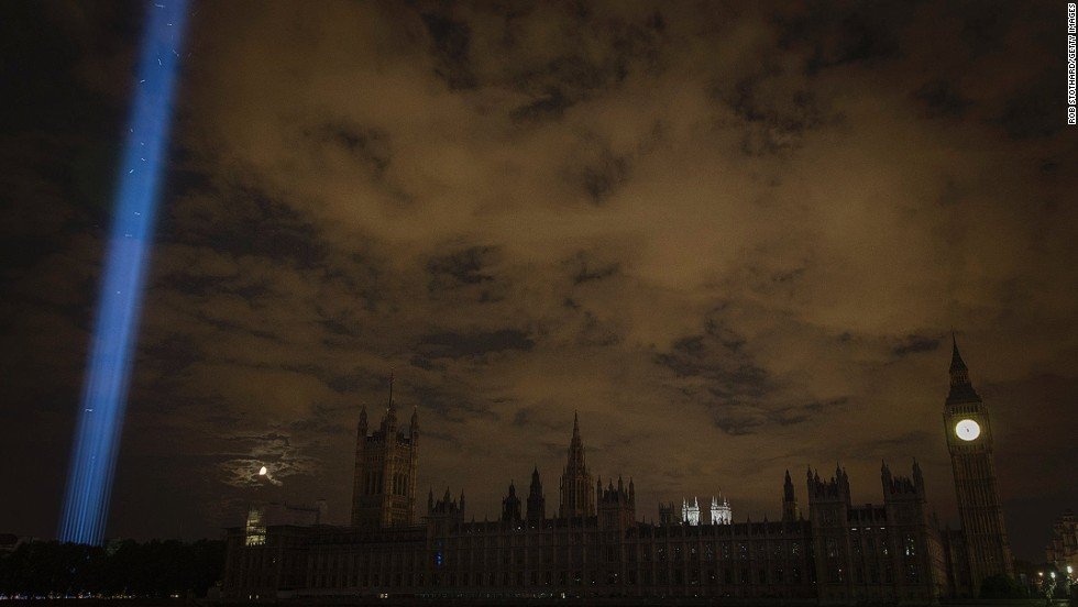 """<em><strong>Spectra by Ryoji Ikeda, London, 2014 </strong></em><br /><br />14-18 NOW's first large-scale initiative, <em>Lights Out</em>, called on individuals to turn out their lights for an hour on August 4, the date Britain declared war on Germany, in reference to then-British Foreign Secretary Sir Edward Grey's statement that """"The lamps are going out all over Europe, we shall not see them lit again in our life-time.""""<br /><br />During that time, they staged five large-scale light art installations across the UK, including <em>Spectra</em> by Japanese artist Ryoji Ikeda, in which a column of light was projected into the night sky."""