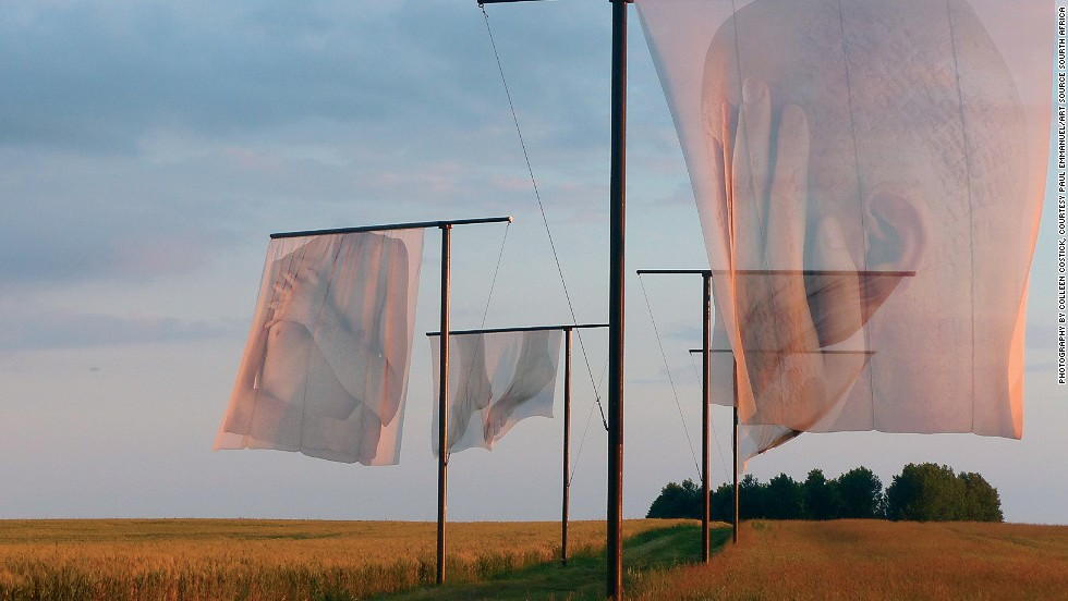 <strong><em>The Lost Men France by Paul Emmanuel, The Somme, 2014</strong></em><br /><br />At the Somme, <em>The Lost Men France</em> takes a different approach. The translucent flags, designed by South African artist Paul Emmanuel, are sensitive depictions of a body with the names of soldiers who lost their lives pressed into the skin.