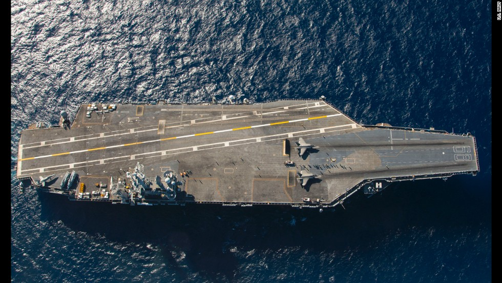 Two F-35C Lightning fighters are set for launch from the catapults of the aircraft carrier USS Nimitz in the Pacific Ocean. The F-35C, the Navy's newest fighter jet, began testing aboard the carrier on November 3, 2014. It is expected to be deployed to the fleet in 2018.