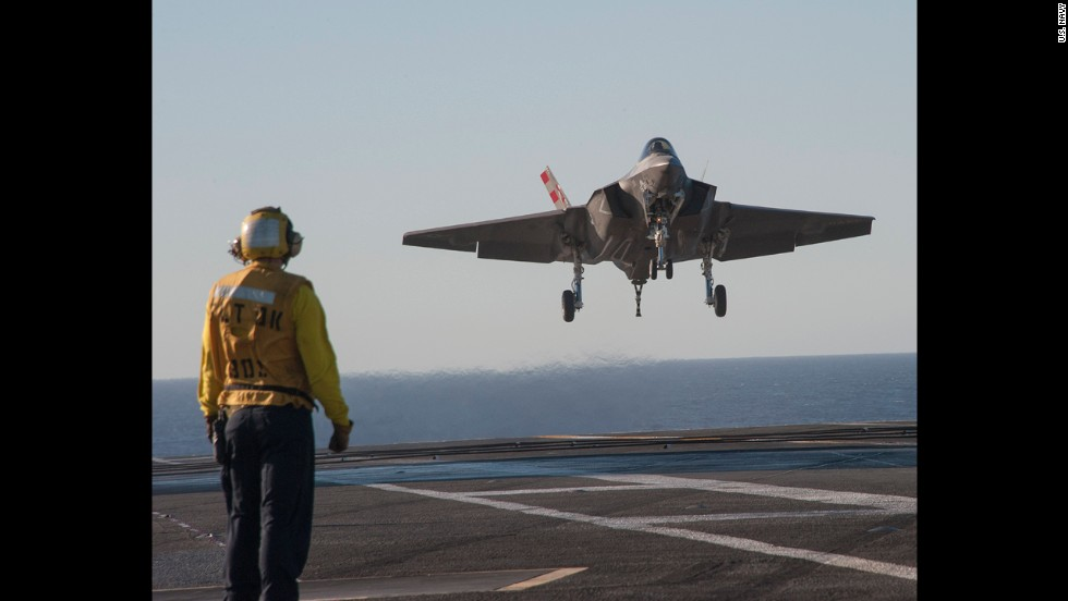 An F-35C comes in for a landing aboard the USS Nimitz.