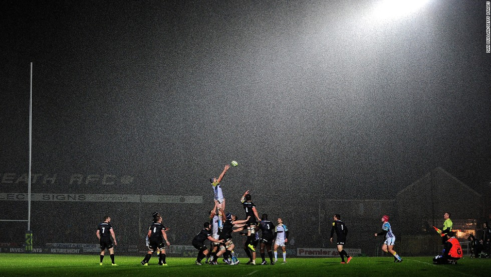 The Ospreys take on the Saracens in an LV Cup rugby match at The Gnoll in Neath, Wales, on Friday, November 7. Saracens won 21-9.