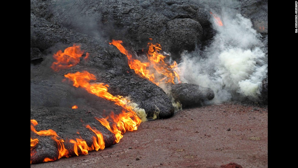 Lava burns near the town of Pahoa on Sunday, November 9.