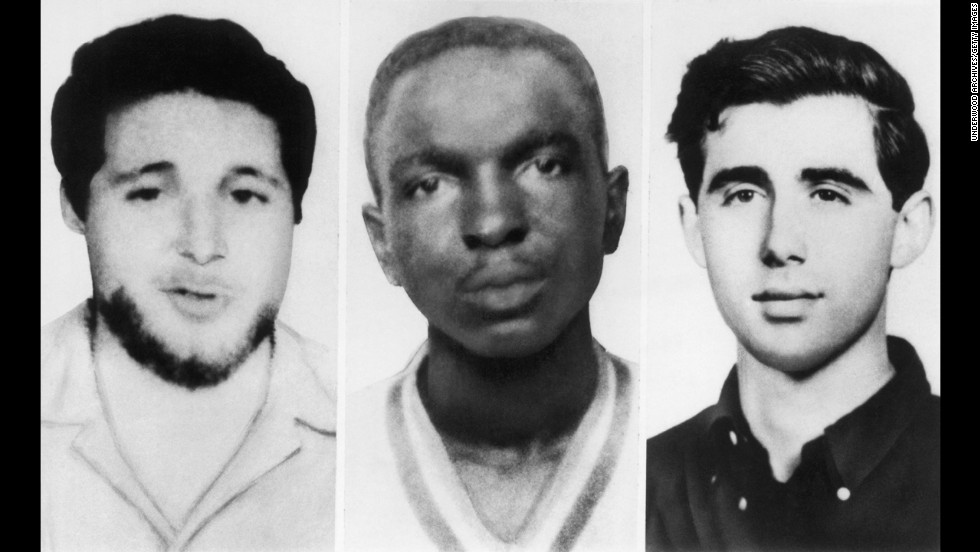 These three men -- from left, Michael Schwerner, James Chaney and Andrew Goodman -- were part of 1964's Freedom Summer and joined other civil rights activists fighting for equal voting rights. But their activism led to their deaths; Schwerner, Chaney and Goodman were murdered in Mississippi in June 1964.
