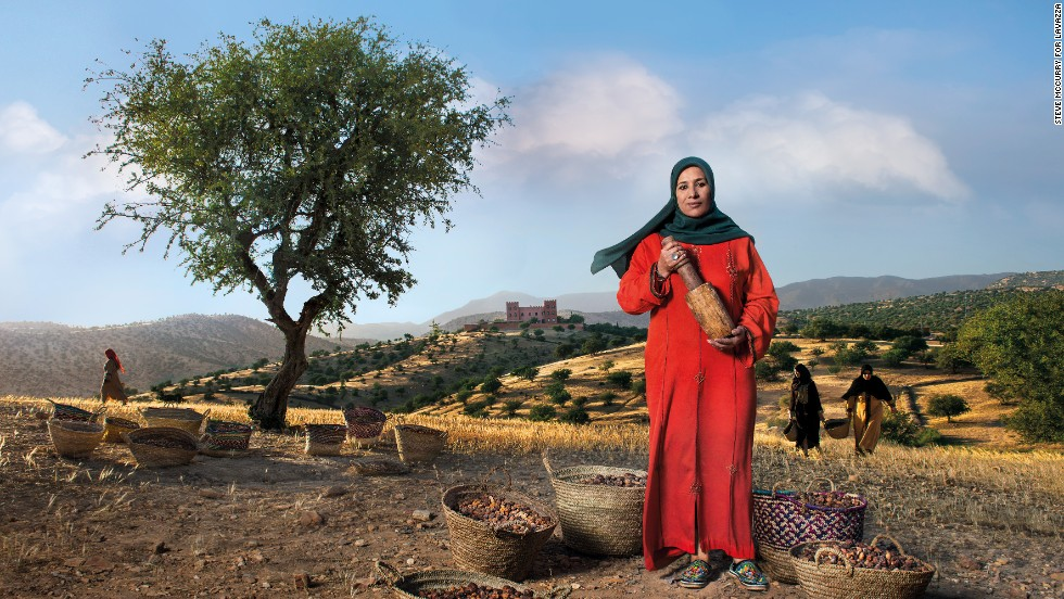 "Along the rolling hills of Morocco's southern coast, Nadia Fatmi, pictured, stands as guardian of her homeland's treasured <a href=""/2012/10/09/world/meast/argan-oil-berbers-morocco/"" target=""_blank"">argan oil</a>. For generations, locals have been harvesting the oil by crushing the seeds of the spiky tree for medicinal and culinary purposes. But in recent years, the oil has become a much sought-after beauty product in many Western countries. As the president of the <a href=""http://fairtrade.tumblr.com/post/45105818691/the-women-of-the-tighanimine-cooperative-the"" target=""_blank"">Tighanimine cooperative</a>, Fatmi works alongside 60 women  to generate income for the region."