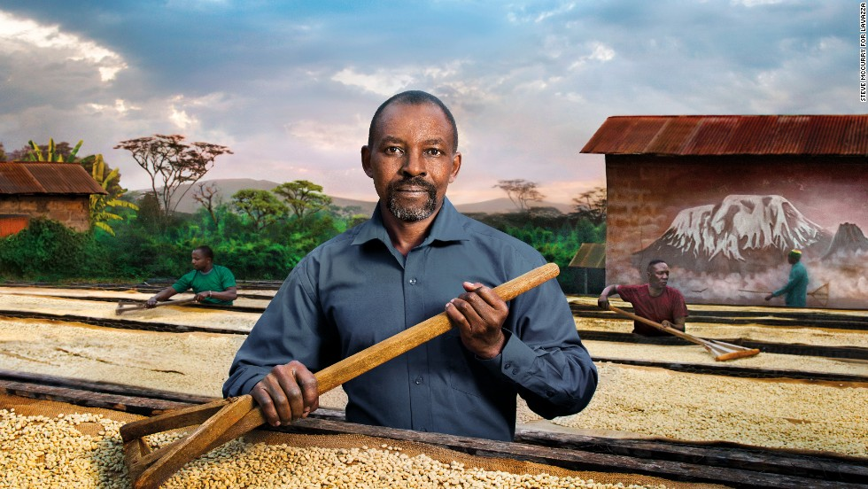 Here, Tanzanian missionary Father Peter Kilasara can be seen sifting through locally-grown coffee beans. He's been instrumental in helping local farmers source better equipment. As the leader of the Kirua Children Association, he also been promotes education for young children in the region.