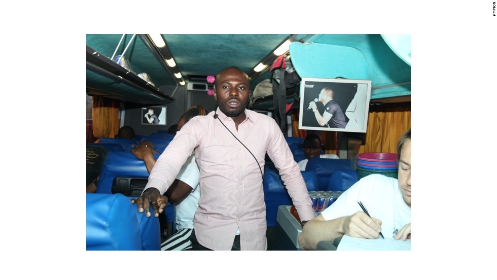 Michael Chu'no Ike from Nigeria spent time on the Ampion bus. He is now creating the HaltEbola voice-messaging platform which seeks to teach people in remote areas about how to avoid the virus.