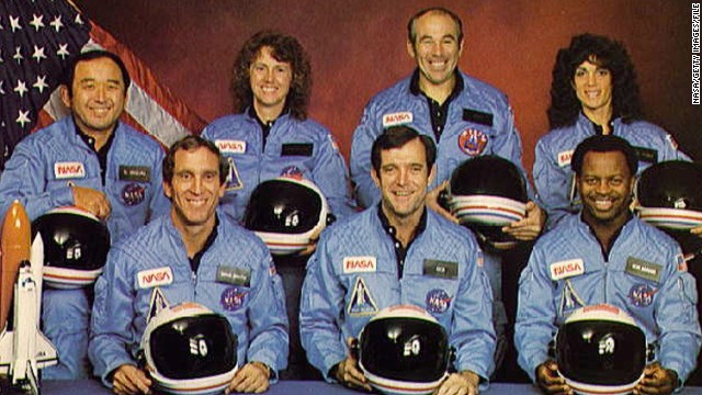 UNSPECIFIED LOCATION - NOVEMBER 11: (FILE PHOTO) Space Shuttle Challenger crew members gather for an official portrait November 11, 1985 in an unspecified location. (Back, L-R) Mission Specialist Ellison S. Onizuka, Teacher-in-Space participant Sharon Christa McAuliffe, Payload Specialist Greg Jarvis and mission specialist Judy Resnick. (Front, L-R) Pilot Mike Smith, commander Dick Scobee and mission specialist Ron McNair. The Challenger and its seven member crew were lost seventy three seconds after launch when a booster rocket failed. (Photo by NASA/Getty Images)
