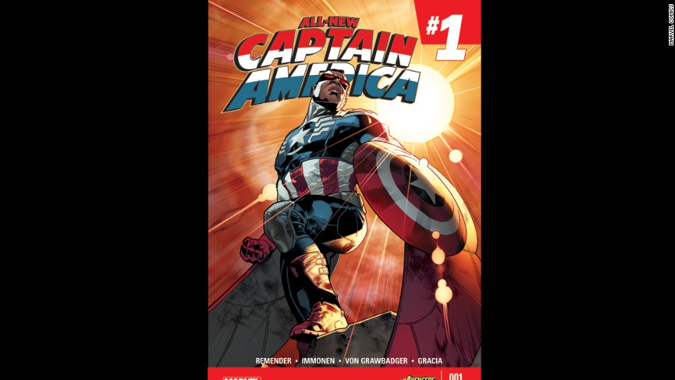 "Sam Wilson, best known to fans of the ""Captain America"" comic books and movies as the Falcon, is officially taking over the role of the Captain in the comic books. The guy who used to wear the suit, Steve Rogers, is no longer able to serve as the superhero. Here's a look at Sam Wilson's big debut in the first issue of ""All-New Captain America."""