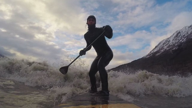 Surfing a tidal bore in Alaska