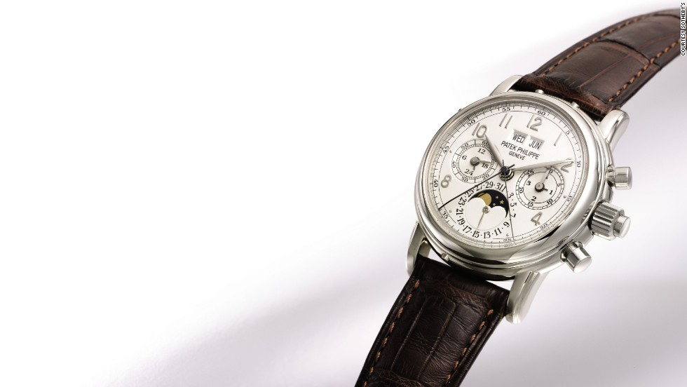 This recent Patek Philippe watch (it was made in 1998) sold for $197,133. Its bezel is made of white gold.