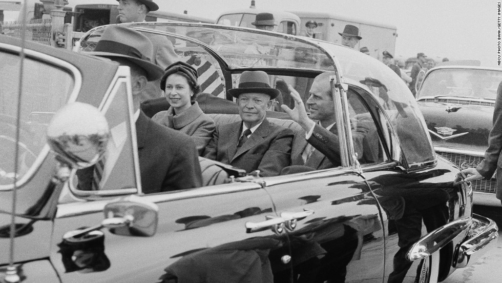 In November 1957, Queen Elizabeth II visited Washington, D.C., as pictured here with President Dwight D. Eisenhower and Prince Philip. She has met numerous presidents over the years and visited 116 countries.