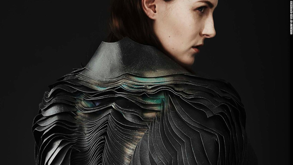 """The Air Collection is made up of three one-of-a-kind leather jackets. """"We chose these shapes so it would translate the dynamic of air as it hits the body,"""" says Jess Smith, who developed the patterns and designs."""