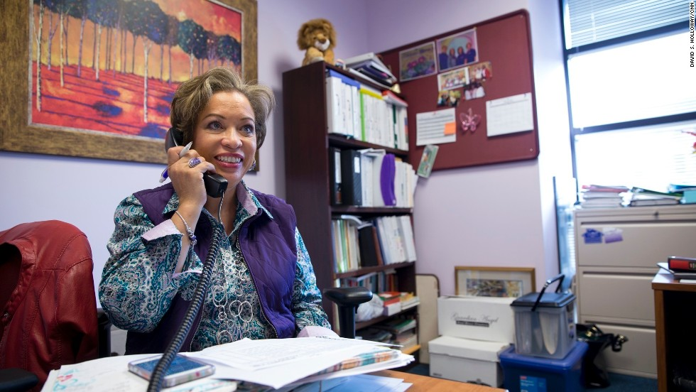March-Grier answers phones inside her office at Roberta's House.