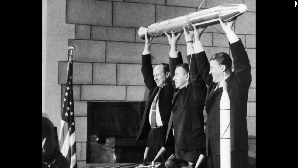 "A model of <a href=""https://www.nasa.gov/mission_pages/explorer/explorer-overview.html"" target=""_blank"">Explorer 1</a>, America's first satellite, is held by, from left, NASA official William Pickering, scientist James Van Allen and rocket pioneer Wernher von Braun. The team was gathered at a news conference at the National Academy of Sciences in Washington to announce the satellite's successful launch. It had been launched a few hours before, on January 31, 1958."