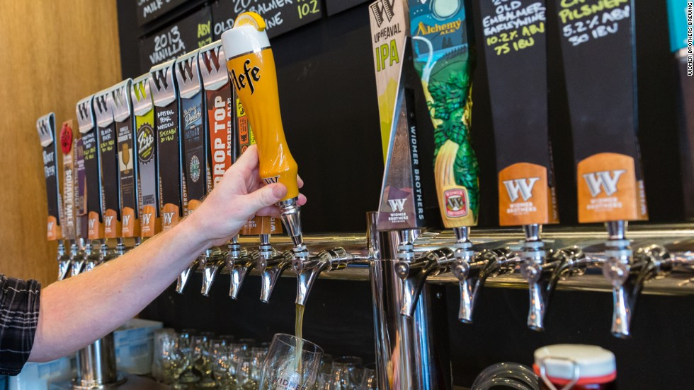 The Widmer pub in Northeast Portland was remodeled in 2014, increasing the number of taps from 15 to 24. Hefeweizen remains a favorite pull.