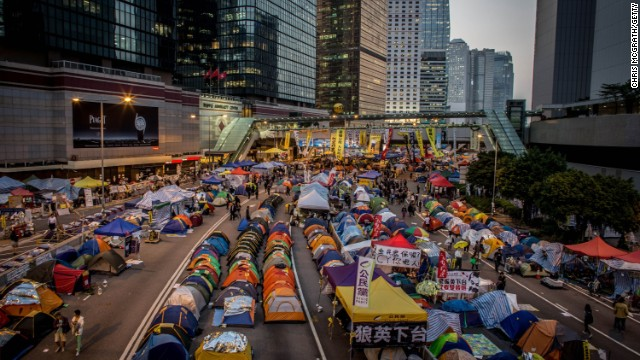A general view of the Admiralty protest site on the road outside the Hong Kong Government complex on November 17.
