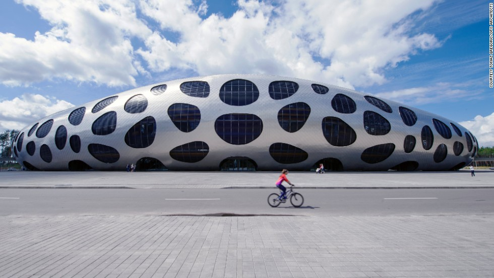 "Here, the distinctive ""spotty"" Borisov Arena in Belarus is home to the country's football team. The space-age arena opened earlier this year and cost $37 million."