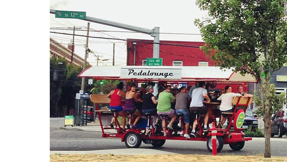 Pedalounge is another way to do a Portland beer tour. Don't worry, after a few stops, you won't feel so conspicuous.