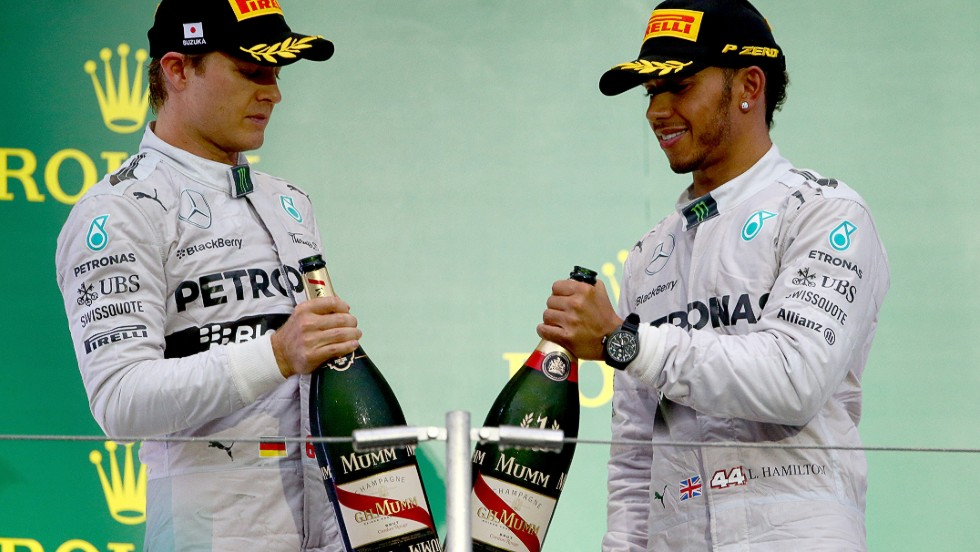 Round 15: Hamilton beats Rosberg again in Japan but the celebrations are muted on the podium following a serious crash involving Marussia driver Jules Bianchi.