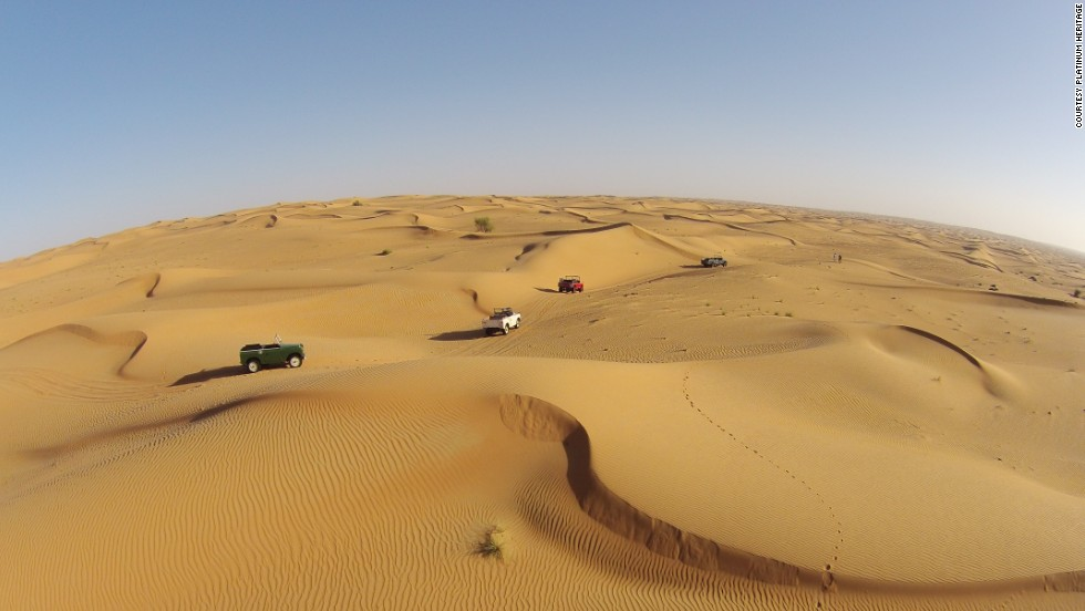 "The slower Land Rovers are more gentle on the delicate environment than bigger vehicles used in ""dune bashing"" trips."