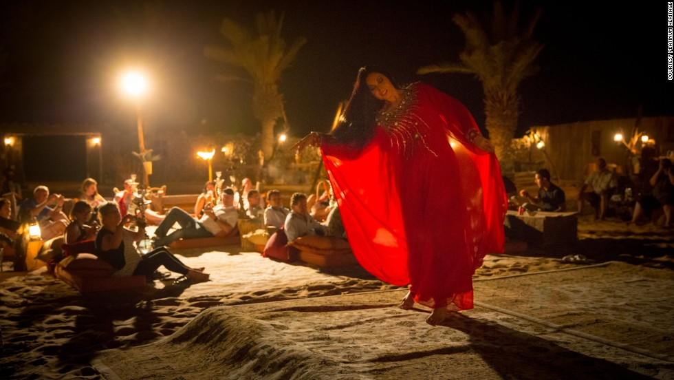 Entertainment includes traditional Khaleeji dances in which women sway their long, black hair, and Yolas, in which men tap rhythms with camel canes.