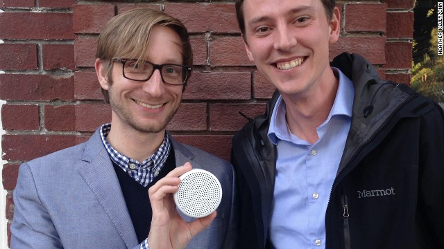 Form Devices co-founders Nils Mattisson and Marcus Ljungblad holding their home security listening device, Point.
