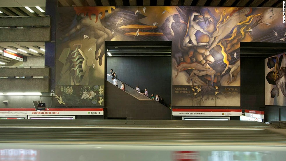 Epic murals by artist Mario Toral cover the walls of Santiago's Universidad de Chile station, depicting Chile's historic struggles.