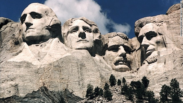 This June 1995 photo shows Mt. Rushmore, in Keystone, South Dakota. Sculptor Gutzon Borglum started work on Mt. Rushmore 10 Aug 1927 and continued for 14 years, but only 6.5 years were actually spent sculpting due to harsh weather delays. The presidents were selected on the basis of what each symbolized. George Washington (L) represents the struggle for independence; Thomas Jefferson (2nd L), the idea of government by the people; Theodore Roosevelt (2nd R), for the 20th century role of the United States in world affairs; and Abraham Lincoln (R) for his ideas on equality and the permanent union of the states.