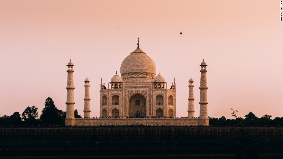 Dusk settles on the Taj Mahal, one of the seven so-called Wonders of the World, in Agra, India.