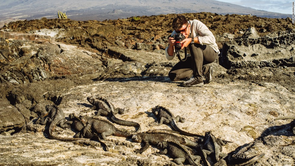 Bill Weir gets up close and personal with the iguanas on Fernandina Island in the Galapagos.