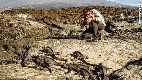 Bill Weir getting up close and personal with the iguanas on Fernandina island, in the Galapagos.